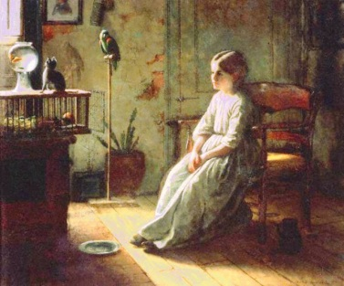Jonathan Eastman Johnson. Girl and pets, 1856